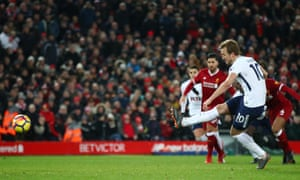 Harry Kane of Tottenham Hotspur takes a penalty which is saved before scoring another one later.