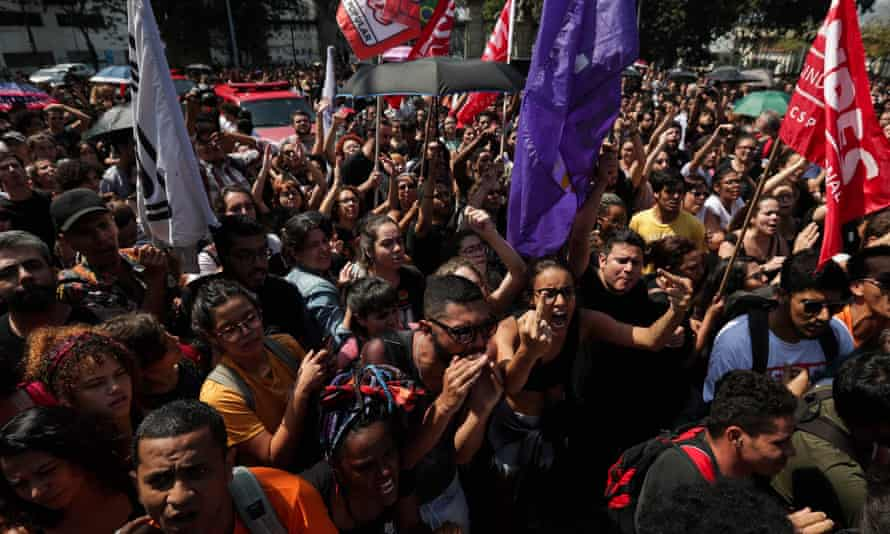 People protest outside the National Museum of Brazil in Rio de Janeiro