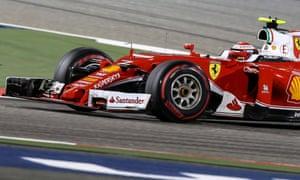 Kimi Raikkonen driving the Scuderia Ferrari is putting pressure on Nico Rosberg in front.