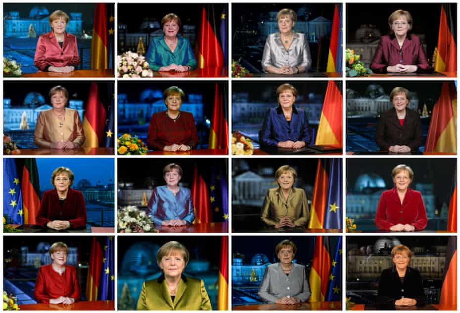 Angela Merkel posing for photographs after various recordings of her annual new year's speech at the chancellery