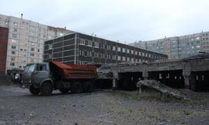 Broken foundations of building in Norilsk