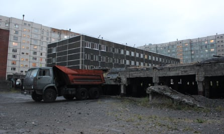 Broken foundations of building in Norilsk