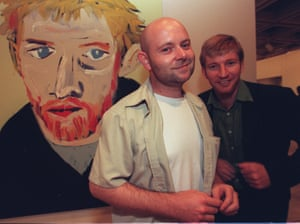 Winner of the 2000 archibald prize for portrait painting, Adam Cullen, with his painting of David Wenham, 17 March 2000.