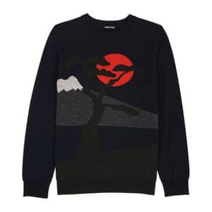 black dark blue grey red winter landscape print jumper Whistles