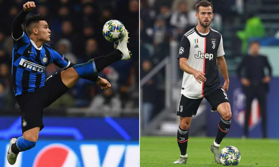 Lautaro Martínez of Inter (left) and Miralem Pjanic of Juventus are both summer transfer targets for Barcelona.
