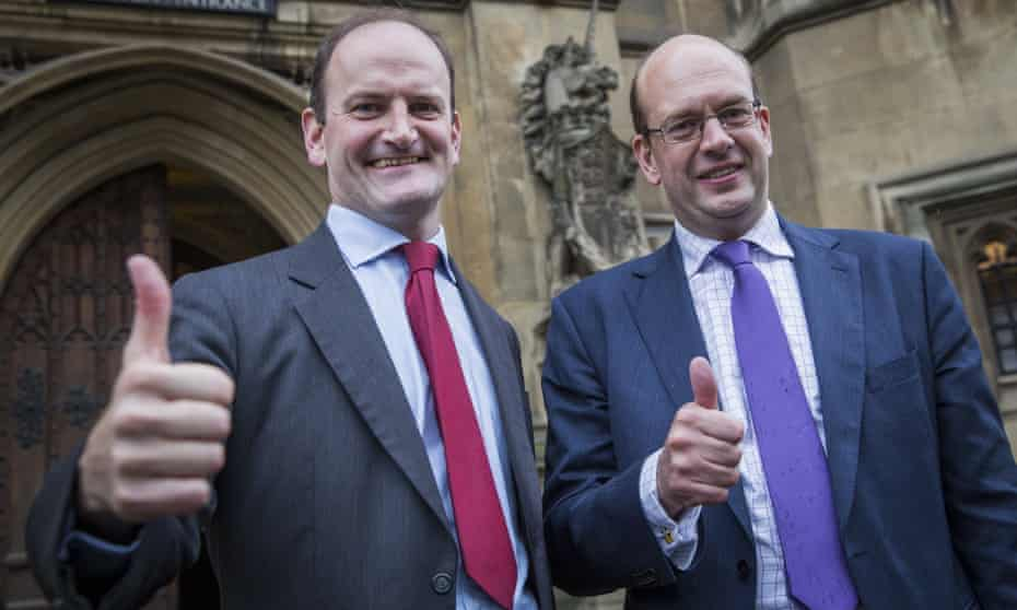 Douglas Carswell and Mark Reckless – Hannan's closest friends in politics – celebrate Reckless's byelection win for Ukip in 2014. He lost the seat at the 2015 general election.