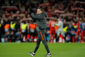 Frank Lampard applauds the remaining fans after their emphatic defeat to Bayern.