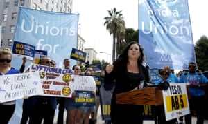 Assemblywoman Lorena Gonzalez, a San Diego Democrat, speaks at rally calling for passage of AB5, last year.