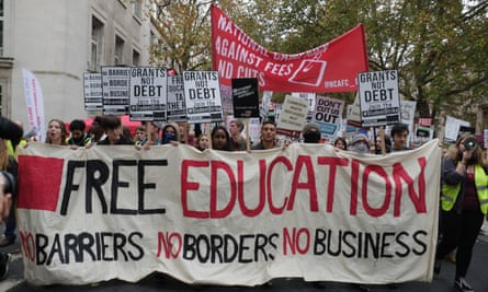 Students protest in London in November against government cuts to education and living grants.