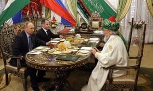 Vladimir Putin with the chief mufti of Russia, Talgat Tadzhuddin, on 24 January during a visit to the Bashkortostan Republic.