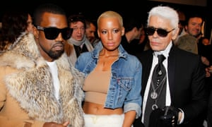 Kanye West, Amber Rose and Karl Lagerfeld