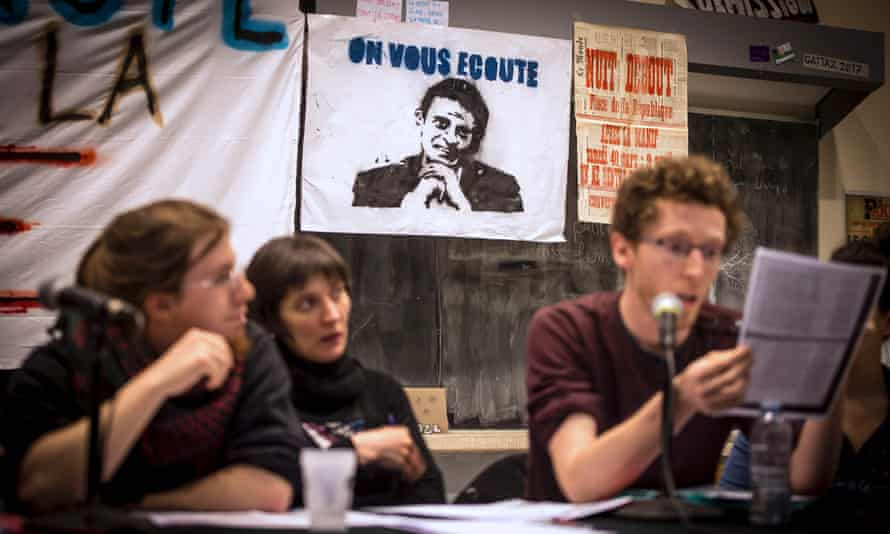 Students occupying an amphitheatre in Lille give a press conference to announce the start of the Nuit debout protests.