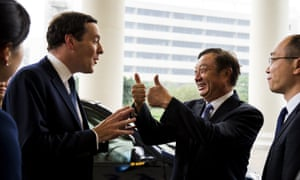 Ren Zhengfei, right, the founder of Huawei, talking to former British chancellor George Osborne on a trade visit in 2013.
