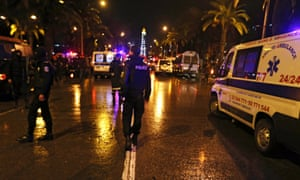 Police and rescue forces at the scene of an explosion in Tunis