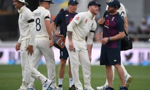 Ben Stokes holds his knee during day one of the second Test against New Zealand.