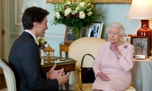 Justin Trudeau meets the queen during a private audience at Buckingham Palace in 2015