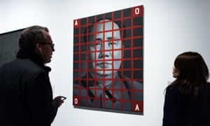Mao Zedong: Red Grid No. 2 by Wang Guangyi is one of a number of irreverent works at the M+ exhibition.