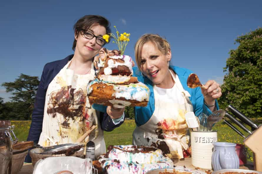 With Sue Perkins on The Great British Bake Off.