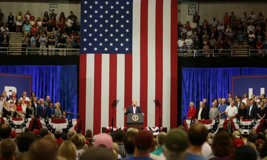 Trump speaks at the Von Braun Centre in Huntsville.