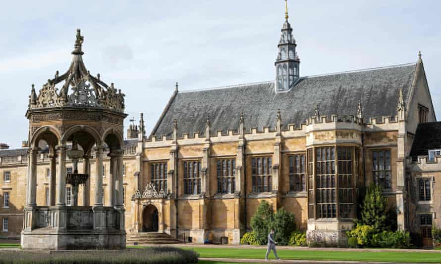 Great Court at Trinity College, part of the University of Cambridge.