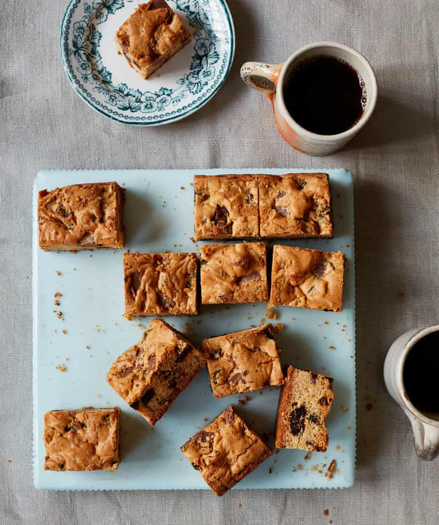 Thomasina Miers' blondies with dates and chocolate.