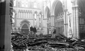 Firefighters surveying the damage to the south transept of York Minster, 1984.