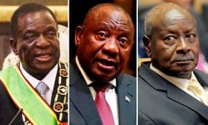 Emmerson Mnangagwa, president of Zimbabwe; Cyril Ramaphosa, president of South Africa; Yoweri Museveni, president of Uganda