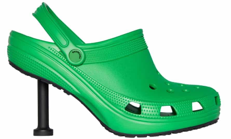 Balenciaga's Spring 22 80mm stiletto Croc mule.