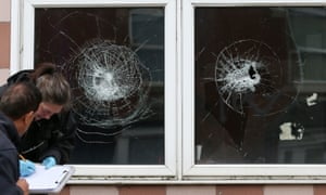 Damaged windows at a mosque on Albert Road in Birmingham
