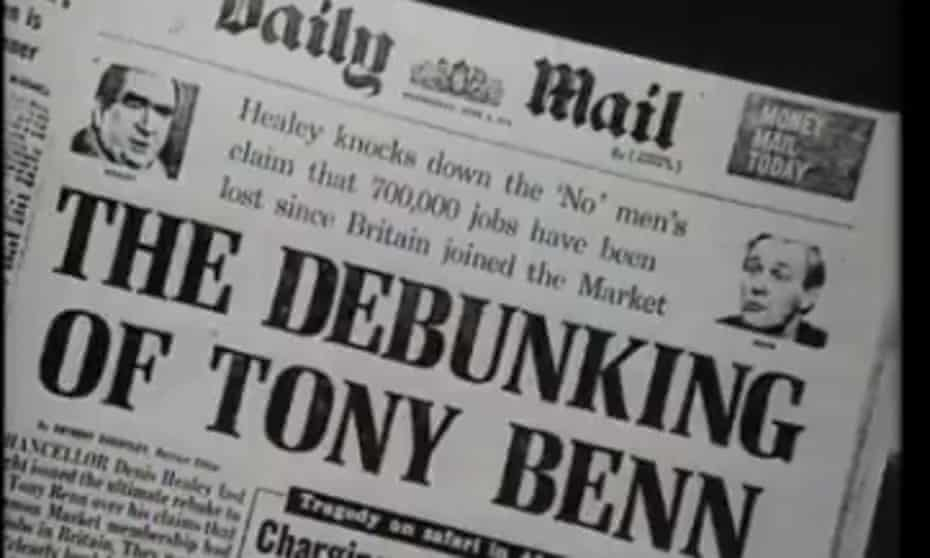The Daily Mail gleefully reports Denis Healey attacking Tony Benn in 1975.