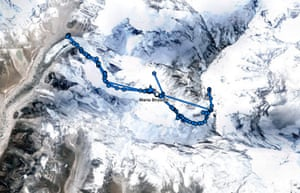 A satellite GPS tracker showing the progress of Maria Strydfom, who fell ill from altitude sickness while descending from the summit at Mount Everest, and later died.
