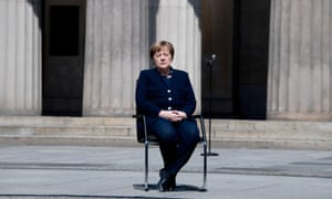 Angela Merkel at the Neue Wache Memorial on 8 May.