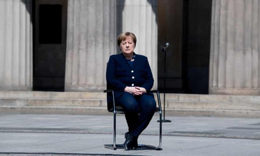 Angela Merkel at the Neue Wache Memorial on 8 May.