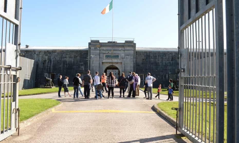 The Fort Entrance at Spike Island with a group of visitors outside.
