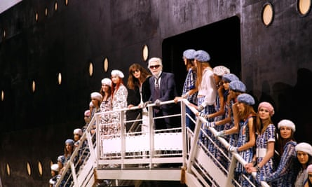 Karl Lagerfeld with Virginie Viard at the end of show.