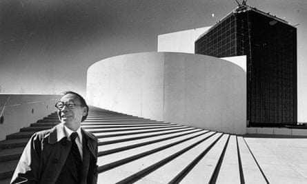 IM Pei in 1979 outside the John F Kennedy Presidential Library and Museum in Boston, which he designed.