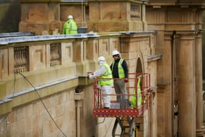 Restoration team works on Chatsworth House