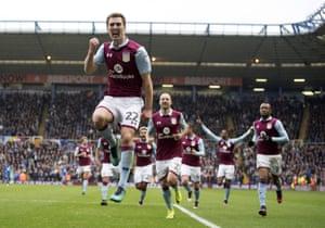 Gary Gardner celebrates after scoring for Villa.