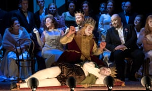 Player 3 (Anthony Osborne) and Player 1 (Brian Bannatyne-Scott). Seated behind: Gertrude (Louise Winter), Claudius (William Dazeley) and Polonius (Jeffrey Lloyd-Roberts) in Hamlet.