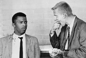 Young Freedom Riders Lewis (and James Zwerg stand together after being attacked and beaten by pro-segregationists in Montgomery, Alabama on 20 May 1961.