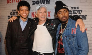 The Get Down actor Justice Smith, Baz Luhrmann and the rapper Nas, who narrates the series, which has not been renewed by Netflix