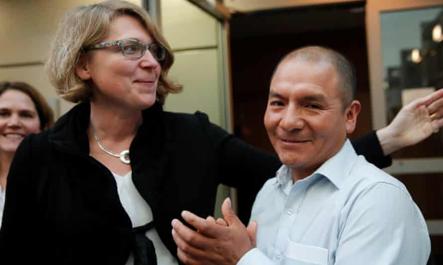 Peruvian farmer and mountain guide Saul Luciano Lliuya and his lawyer Roda Verheyen after a regional German court ruled against RWE, one of Europe's biggest electricity companies, in Hamm, Germany.