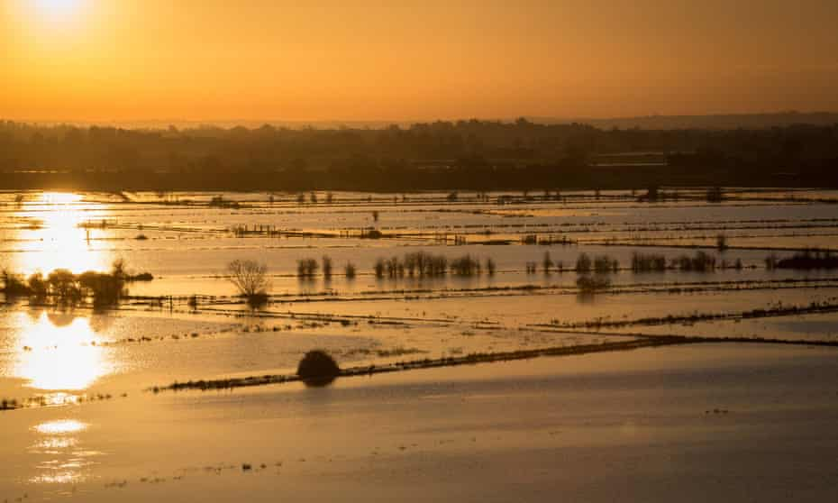 Flood water on the Somerset Levels.