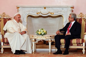 The pontiff meets Sargsyan at the presidential palace in Yerevan.