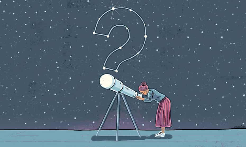 Illustration of a woman looking through a telescope, a starry sky behind her