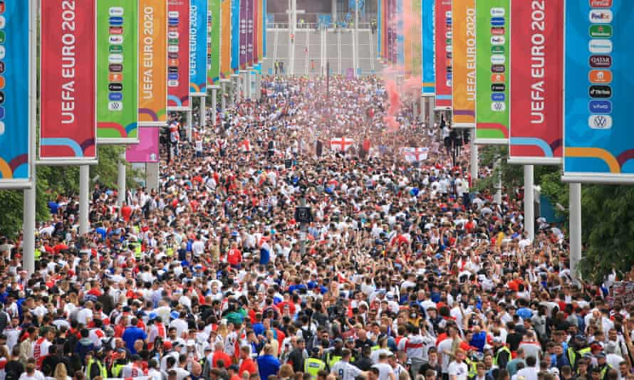 Fans on Wembley Way before the Euro 2020 final in July