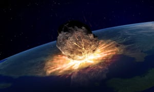 The asteroid was large enough to kill off three-quarters of the life on earth.
