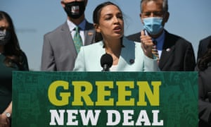 AOC speaks during a press conference to re-introduce the Green New Deal for environmentally-friendly economic development and action to tackle the climate crisis, earlier this week.