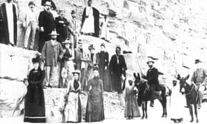 English tourists climbing a pyramid during Thomas Cook tour of Egypt, 19th, early 20th Century.