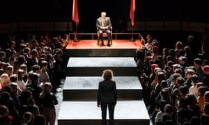 Brexit stage left … Michelle Fairley as Cassius and David Calder as Julius Caesar in the Bridge theatre production.
